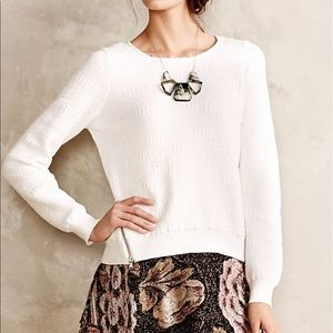 Anthropologie Moth Merle White Textured Pullover